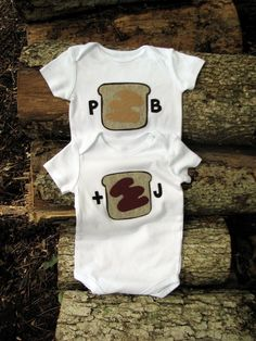 Twin Clothing Baby Onesies Peanut Butter and Jelly. $36.00, via Etsy.