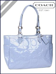 Coach Signature Patent Embossed Tote Blue Handbag « Holiday Adds