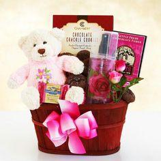 Moms Hugs and Chocolate Chocolate cookies, chocolate fudge,  and chocolate raspberry with plush bear and Rose Body Mist