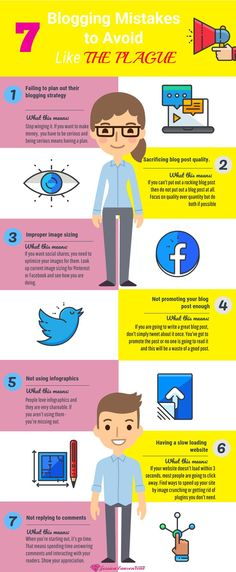 This infographic explains the 7 blogging mistakes to avoid so you can have success with your blog and get more traffic and engaged users #blogginginfographic #infographics