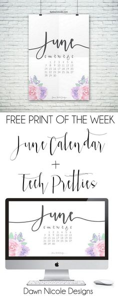 Free Print of the Week: June 2015 Printable Calendar + Desktop Wallpaper | bydawnnicole.com