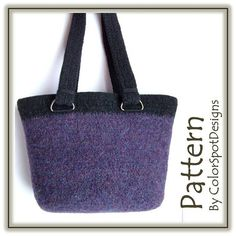 Perfect Felted Bag  Crochet Pattern PDF  by Melanie Rice for ColorSpotDesigns.  This pattern is for my very favorite purse! I use it every day – it is nice and deep, with an oval bottom that lets the bag sit flat on a table. The top color band is used as a guide for placing the straps, and you can't go wrong with any color combination!