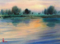 Landscape Walls, Watercolor Landscape, Watercolour Painting, Contemporary Paintings, Original Artwork, Sunset, Wall Art, The Originals, Artist
