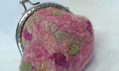 Pink wool felt small purse with hand dyed silk detail using hand dyed Australian merino wool 11266 by Feltedfibres on Etsy