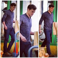 Jamie Dornan filming the Clayton's Hardware store scene (1/22/14).  Is he Christian Grey or what????