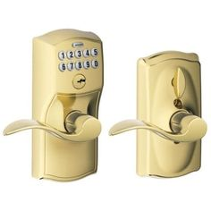 Schlage FE595-CAM-ACC Camelot Keypad Entry with Flex-Lock Door Lever Set with Accent Interior Lever (