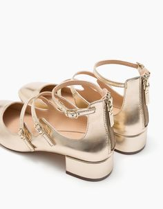 Heeled ballerina shoes with shiny metallic straps. Discover this and many  more items in Bershka 5037213af55e