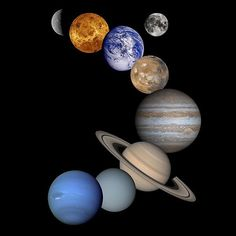 Solar System Montage - High Resolution 2001 Version (NASA Galileo Jupiter Mission Images) - Featured: the planet Saturn; the planet Jupiter; the planet Uranus; the planet Neptune; the pale blue dot of earth Cosmos, Nasa Solar System, Solar System Images, Planetary System, 5th Grade Science, Elementary Science, Fifth Grade, Teaching Science, Student Teaching