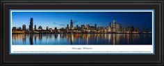 Chicago Skyline Panoramic Picture, Illinois Panorama - Deluxe Frame $199.95
