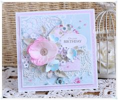 Scrapbooking, handmade cards and papercrafts by Lady E. Vintage, chipboards, shabby and more. Shabby Chic Cards, Birthday Cards For Women, Diy Papier, Pop Up Cards, Card Making Inspiration, Flower Cards, Creative Cards, Vintage Cards, E Design