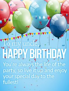 Happy Birthday Card For Uncle Balloons Check Streamers