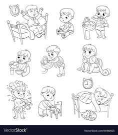 Cartoon kid daily routine activities set vector image on VectorStock Funny Cartoon Characters, Cartoon Kids, Funny Cartoons, Daily Routine Activities, Daily Routines, Kids Schedule, Action Verbs, Baby Eating, Diy For Girls