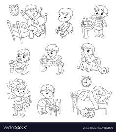Cartoon kid daily routine activities set vector image on VectorStock Funny Cartoon Characters, Cartoon Kids, Funny Cartoons, Daily Routine Activities, Daily Routines, Action Verbs, Cat Vector, Baby Eating, Diy For Girls