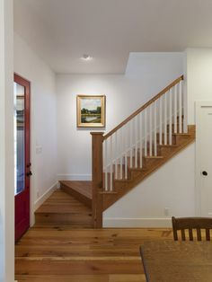 Cottage Stairs Design, Pictures, Remodel, Decor and Ideas Cottage Staircase, Small Staircase, Farmhouse Stairs, Staircase Design, Stair Design, Attic Stairs, Steep Staircase, White Staircase, Deck Stairs
