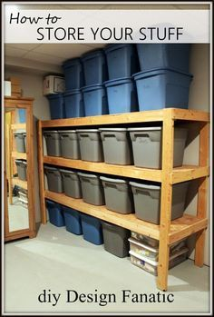 Directions to build storage shelves that easily fit all those plastic storage containers. No more unstacking the top ones to reach the items in the very bottom box! Basement Storage Shelves, Diy Garage Storage, Built In Storage, Garage Shelving, Storage Area, Storage Bins, Storage Room, Easy Storage, Ladder Storage