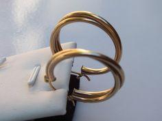 10K Gold Double Loop Design Earrings 37 x 24mm by GiftShopVintage