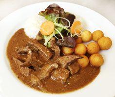 Denné menu Vranov | Restovaná bravčová pečeň, ½ ryža, ½ krokety - reštaurácia Hotel Patriot*** #hotel #restaurant