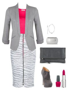 """Grey and hot pink"" by emma-asplund on Polyvore featuring Express, Roberto Coin, American Vintage, River Island, Sole Society, OPI, Givenchy, Miss Selfridge, WorkWear and Pink"