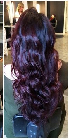 New Hair Color Purple Highlights Plums Dyes Ideas Dark Purple Hair, Hair Color Purple, Fall Hair Colors, Hair Color And Cut, Burgundy Hair, Ombre Colour, Plum Purple, Black Cherry Hair Color, Color Red