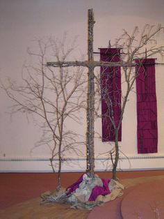 Church decor in the season of lent.