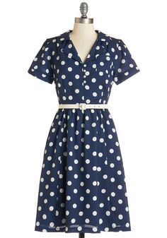 Address the Room Dress. Today is your speech to the board, and you know youll exude confidence in this belted polka-dot dress from Myrtlewood! #blue #modcloth