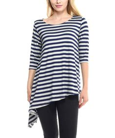 Look at this #zulilyfind! Heather Gray & Navy Striped Asymmetrical Top #zulilyfinds