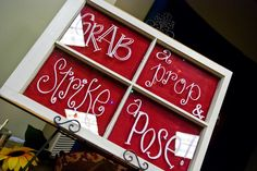 "Wedding Window ~ ""Grab a prop & Strike a pose"" : To write on old window, use paint pen on front and burlap stapled to back. (If you want a certain font, print it off the size you want, tape it to back of window and trace it with the paint pen. Then staple burlap on back.)"