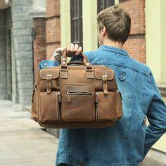 Large Handmade Vintage Leather Travel Bag / Leather Messenger Bag / Overnight Bag / Duffle Bag / Weekend Bag - n62-4 - Thumbnail 1