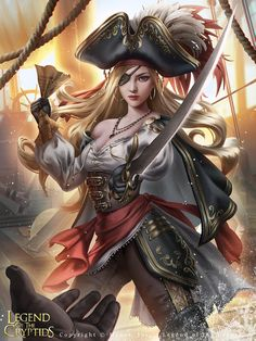 Pirate Princess Ashlyan, who does not like the offer the enemy fleet is making to exchange her island for her captive crewmembers. Legend of the Cryptids - Pirate Princess Ashlyan 2 Fantasy Girl, Chica Fantasy, Fantasy Art Women, Fantasy Warrior, Dark Fantasy Art, Fantasy Artwork, Fantasy Princess, Pirate Art, Pirate Woman
