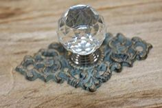 Antique-look Crystal Knob Pull Bronze-look Cast Iron Back Plate, 3 Hand Cast, It Cast, Refinish Kitchen Cabinets, Cabinet Refinishing, Drawer Pulls And Knobs, Crystal Knobs, Bronze, Back Plate, Iron Decor