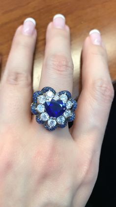Gem Stone King 925 Sterling Silver Round Sapphire and White Diamond Women's Engagement Ring – Fine Jewelry & Collectibles Sapphire Gemstone, Blue Sapphire, Gemstone Rings, Sapphire Rings, Sapphire Jewelry, Perfume, Jewelry Rings, Jewelry Ideas, Jewellery