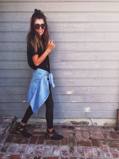 RVCA BOOT OVERSIZED TEE | denim jacket by brandy melville | 'wax coated' paige denim | booties by jeffrey campbell