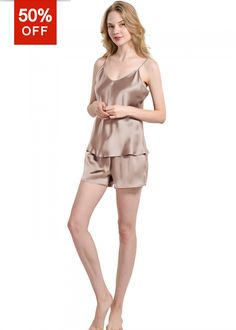 e2518e7edd Pure Silk Camisole And Shorts Pajama Set For Womens - OOSilk Silk Sleepwear