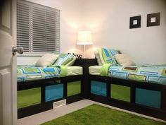 An idea for when M4 is in a twin bed. Build shelving for the corner behind M3's & M4's headboards