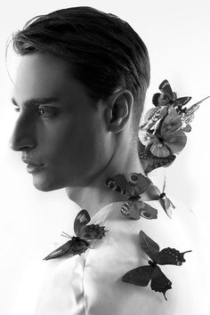 Fashion photographer Mario Ardi shares with us images from Untold Stories, his recent fairy tale themed exhibition. Art Photography Portrait, School Photography, Portrait Photography, Black And White Aesthetic, Black And White Man, Hair Dynamics, Butterfly Man, Beauty Shoot, Face Men