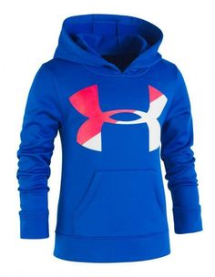 15f97d9c5046 Under Armour Girls Gray Blue  amp  Pink Pull Over Logo Hoodie Size 5   fashion