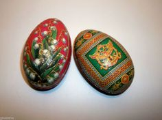 Vintage IMPERIAL EGG TIN Candy Container FABREGE Litho SET OF 2 Red GREEN GOLD