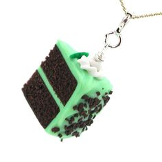Cake necklace chocolate mint cake by inediblejewelry on Etsy, $26.00