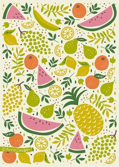 24 ideas for fruit design art illustrations print patterns Fruit Illustration, Pattern Illustration, Food Illustrations, Fruit Pattern, Cute Pattern, Pattern Ideas, Design Poster, Design Art, Textile Patterns