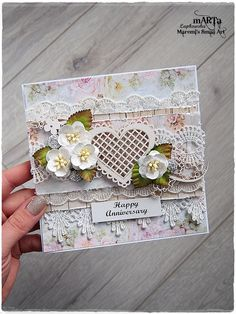 Handmade Anniversary Card Wedding Card 3D by MaremiSmallArt