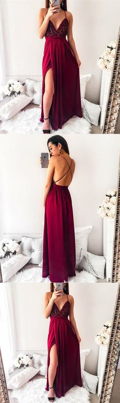 A-Line Deep V-Neck Floor-Length Burgundy Stretch Satin Prom Dress with Sequins M2134