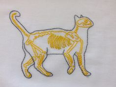 My second skeleton cat is done but now I have to figure out how to frame it. *These are now available at my Etsy shop!