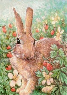 Bunny in the Strawberry Patch by Lynn Bonnette