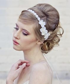 Handmade Pearl and Flowers Tie Bridal Headband