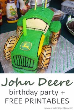 John Deere themed tractor birthday party for toddlers. Inspiration for decorations, cake, healthy food and innovative party packs & free printables. Kids Party Themes, Birthday Party Themes, Birthday Invitations, Party Ideas, 3rd Birthday, Birthday Cakes, Birthday Ideas, John Deere Kids, John Deere Games