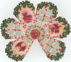 New Year Cut Calendar~Victorian Ladies Fold Out Fan~Holly Berry~Emboss New Years Eve Decorations, Antique Fans, Vintage Calendar, Victorian Ladies, Holiday Postcards, Die Cutting, Emboss, Paper Dolls, Ephemera