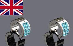 1 Pair Stainless Clear Rhinestone Zircon Men s Ear Hoop Earrings Stud