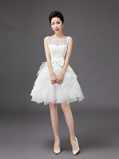 Knee-length Organza Bridesmaid Dress A-line Scoop with Bow(s) - USD $47.49