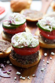 Greek Salad Burgers - Cooking for Keeps