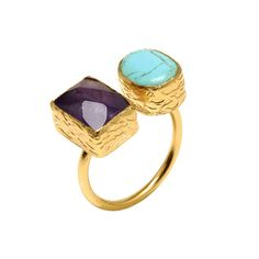 Turquoise and Amethyst Hami Ring